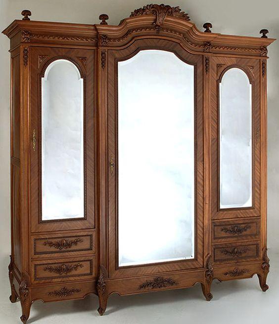 antique louis xvi mahogany triple armoire antiques antiquefurniture armoire frenchantiquefurniture antique mahogany armoire