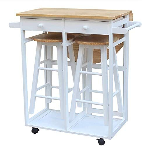 Enjoy Exclusive For Ssline Rolling Kitchen Island Seating 3pcs Dining Table Set 2 Stools Wood Drop Leaf Breakfast Cart Table Chair Space Saving Foldable Ki In 2020 Kitchen Island With Seating