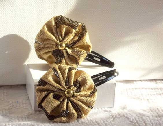 Gold Black Yoyo Hair Clip Set     Handmade by SophiesHatsandMore,