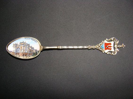 Silber Andenkenlöffel Souvenir Silberlöffel 800 Emaille TILSIT Ostpreussen Memel