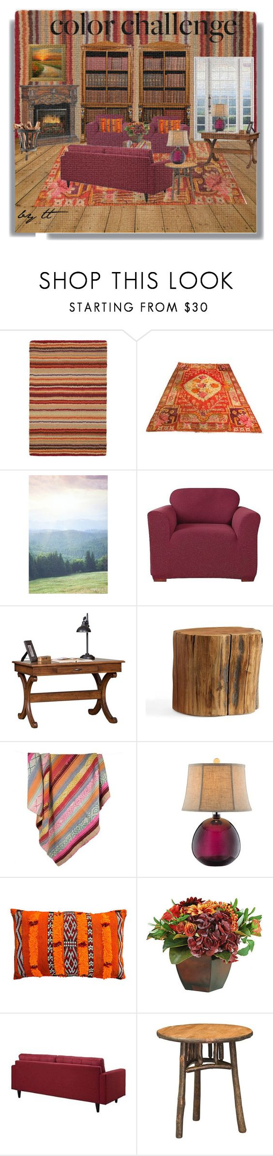 """Burgundy and Orange Color Challenge...by tt"" by fowlerteetee ❤ liked on Polyvore featuring interior, interiors, interior design, home, home decor, interior decorating, Surya, Plum & Bow, Sure Fit and DutchCrafters"