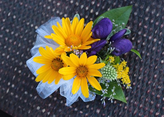 Corsage.  Heliopsis flower with Monk's hood and thistle accents.