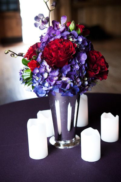 I like Purple and Red but I know Mike doesn't like it Centerpieces