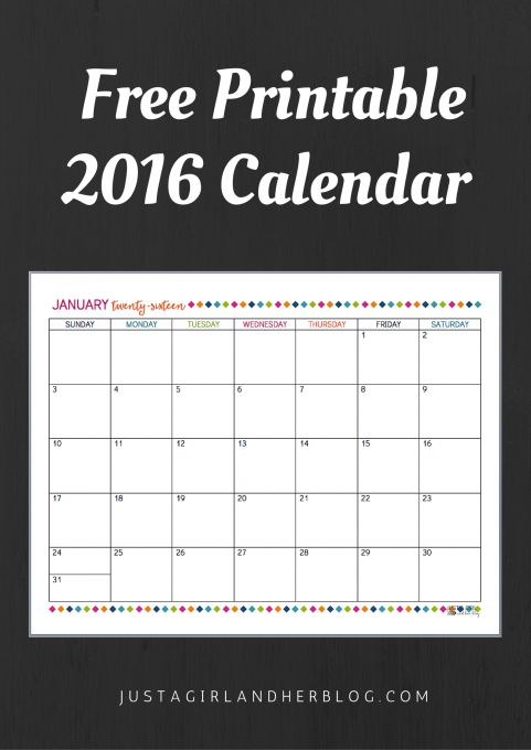 Love this printable 2016 calendar! And it's free!   JustAGirlAndHerBlog.com