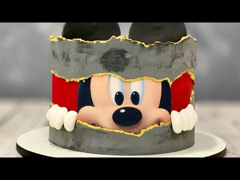 Mickey Mouse Cake Fault Line Cake Concrete Cake Youtube Cartoon Cake Mickey Mouse Cake Mouse Cake