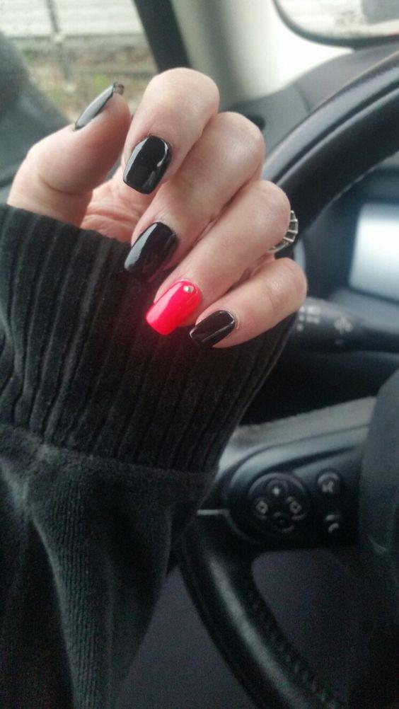 Black n pink with tiny jewel