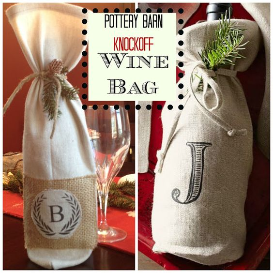 Holiday Decor Gift Ideas Pottery Barn Edition All My: DIY Monogrammed Wine Bottle Bag (Pottery Barn-Inspired