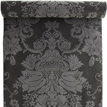 Papier peint 100 intiss baroque paillette noir leroy - Papier peint autocollant leroy merlin ...