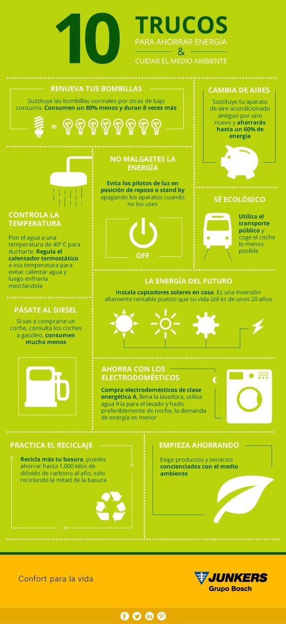10 trucos para ahorrar energ a y cuidar el medio ambiente infograf as pinterest - Trucos ahorrar luz ...