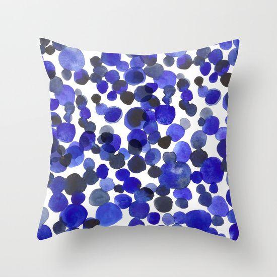 Blue Dots Throw Pillow