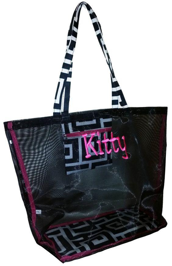 Amazon.com: Fashion Mesh Bag Tote - Great for the Beach or Stadium Events (Black Mesh w/ Black Dots): Clothing