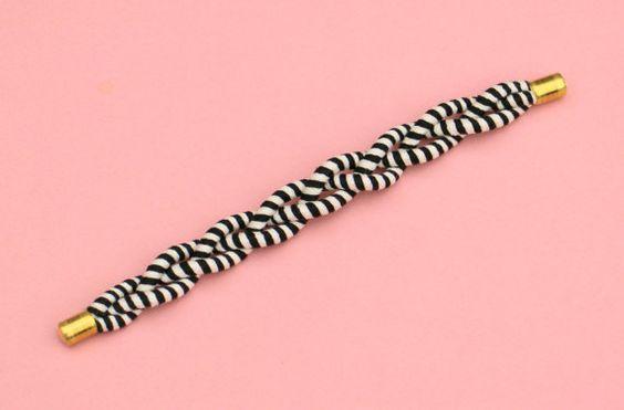 Braided bracelet black and white fabric rope bracelet by MyBeata
