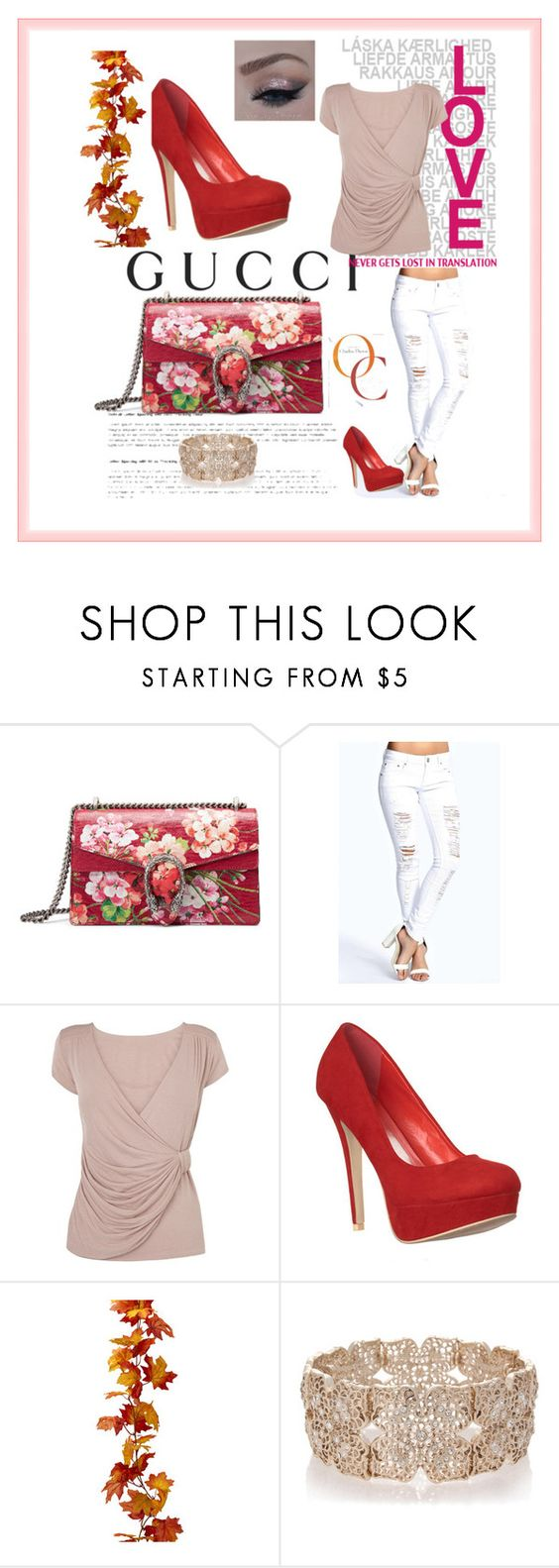 """""""beautifulhalo"""" by crvenamalina ❤ liked on Polyvore featuring Gucci, Boohoo, Phase Eight and Oasis"""