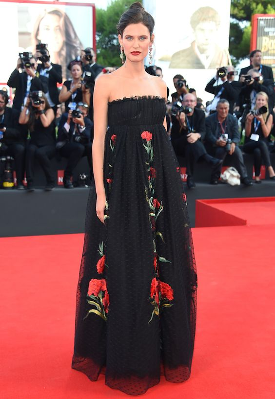 Bianca Balti at Venice Film Festival | This embroidered chiffon gown is a spot-on representation of Dolce & Gabbana's feminine aesthetic, Bianca wears it beautifully.: