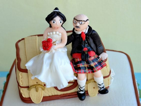 Bride & Groom, Scottish kilt wedding #cake #toppers, #fondant