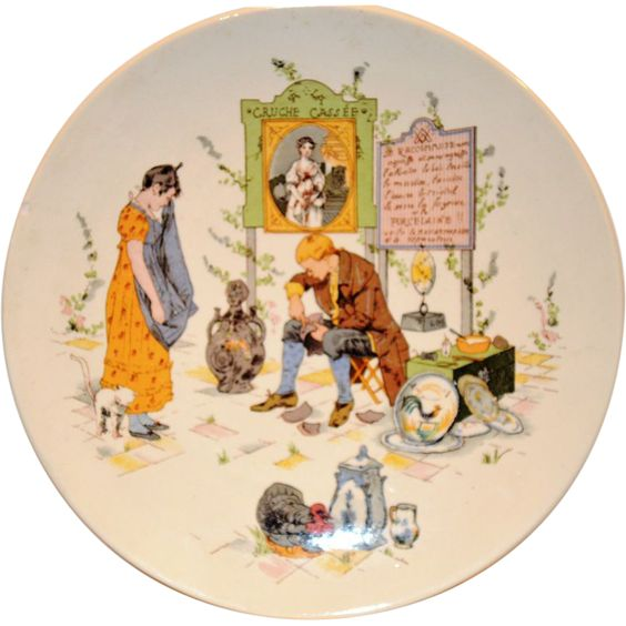 Neat French Faience Story Plate / Plaque ~ Man Fixing Distraught Young Lady's Porcelain ~ Froment-Richard / Antoine-Albert Richard ~ UTZCHNEIDER & CO [(Sarreguemines, France) - ca 1881s - 1930s