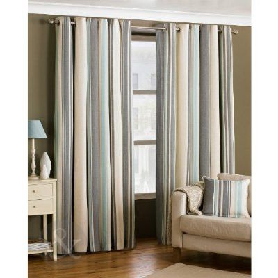 Ready Made Striped Eyelet Curtains - Lined Cream Grey Duck Egg ...
