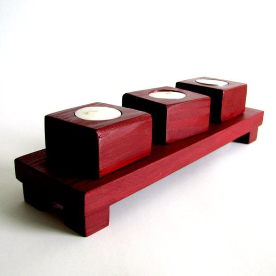 Wooden Tea Light Candle Holder With Zen Display Table In