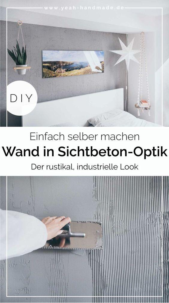 Diy Wand In Sichtbeton Optik Selber Machen Yeah Handmade In 2020 Diy Wand Dekor Schoner Wohnen Farbe