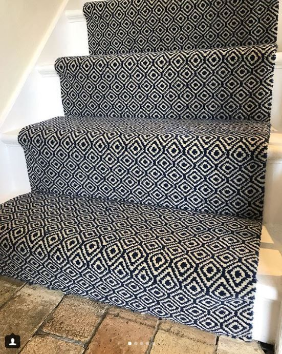Deep And Rich In Colour The Quirky Tess Blue Runner Is Perfect | Quirky Carpets For Stairs | Designed | Statement | Popular | Flower Patterned | Flowery