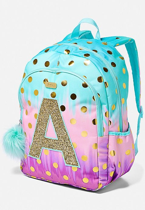 Ombre Foil Dot Initial Backpack Justice Girl Backpacks Girls Bags