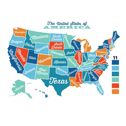 USA Wall Decal Map Vintage Retro | Maps for kids, United ...
