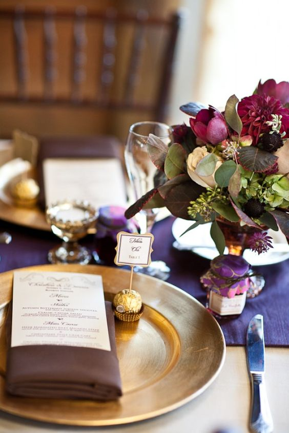 Plum with gold accents gold wrapped chocolate ferrero Places to have a fall wedding