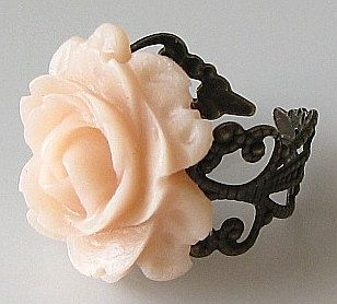 rose ring flower ring, blush peach ring, bridesmaid gift, brass or silver ring, adjustable ring, filigree ring, soft pastel