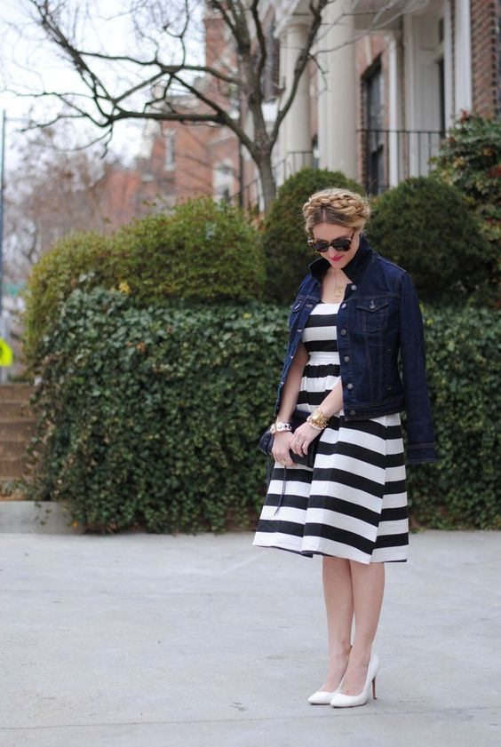 Early spring outfit idea Cover up in a jean jacket.