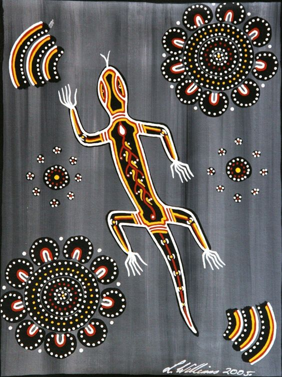 Aboriginal Dreamtime Art:  Goanna Ceremony by Lorraine Williams.