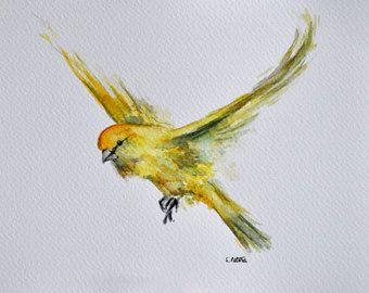 ORIGINAL Watercolor Bird Painting Flying Robin por ArtCornerShop