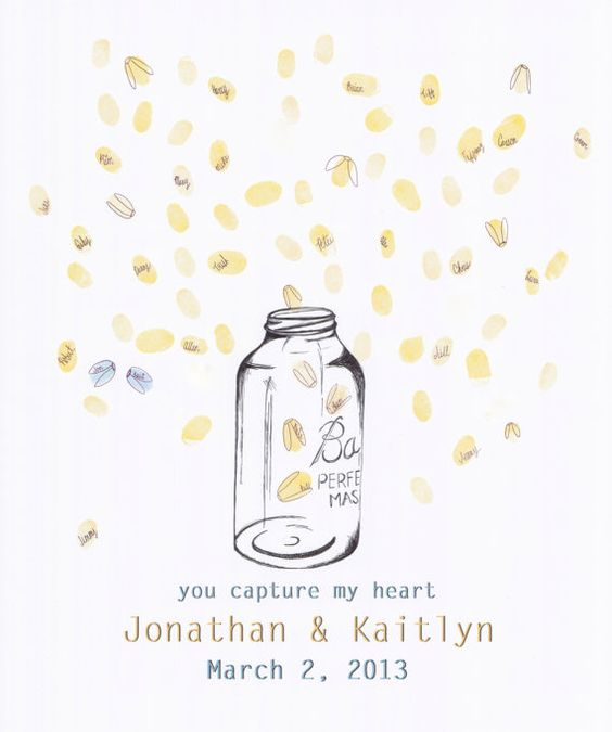 Wedding Guestbook Fingerprint Mason Jar, Guest Book ...