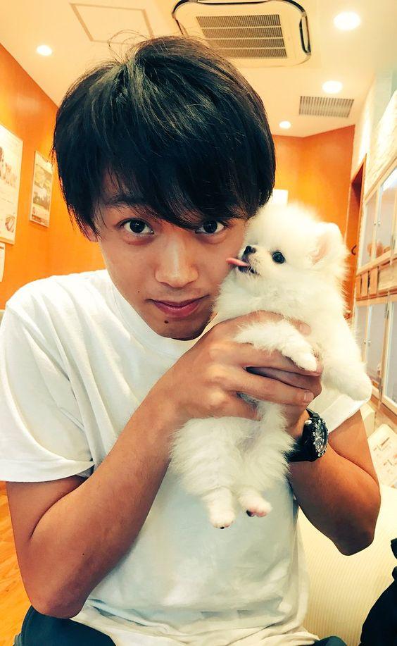 犬と一緒の竹内涼真のかわいい画像