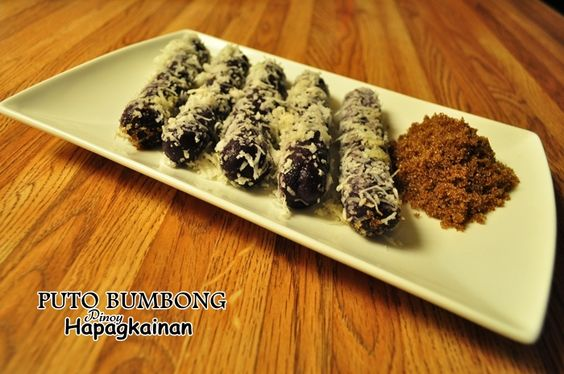 PUTO BUMBONG  Steamed Wild Rice Rolled in Sugar and Grated Coconut