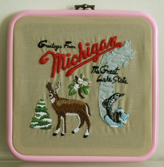 HandEmbroidered Michigan Album Artwork Hoop by seaofstarscrafts, £40.00