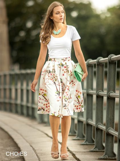 High Waisted Midi Skater Skirt