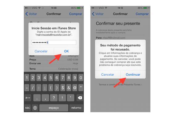 Confirmando a ID da Apple e acessando a confirmação dos dados do cartão de crédito (Foto: Reprodução/Marvin Costa)