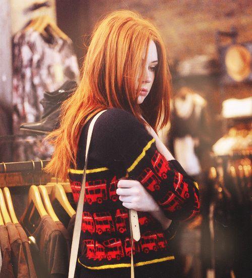 karen gillan in a double decker sweater