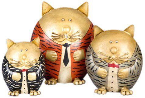 Silea 1170/1001 Katzenfigur-Set, getigerte Katzen, Metall, 3-teilig: Amazon.de: Küche & Haushalt