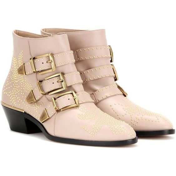 Chloé Susanna Studded Leather Ankle Boots (€995) ❤ liked on Polyvore featuring shoes, boots, ankle booties, neutrals, chloe bootie, chloe boots, nude boots, nude ankle boots and chloe booties