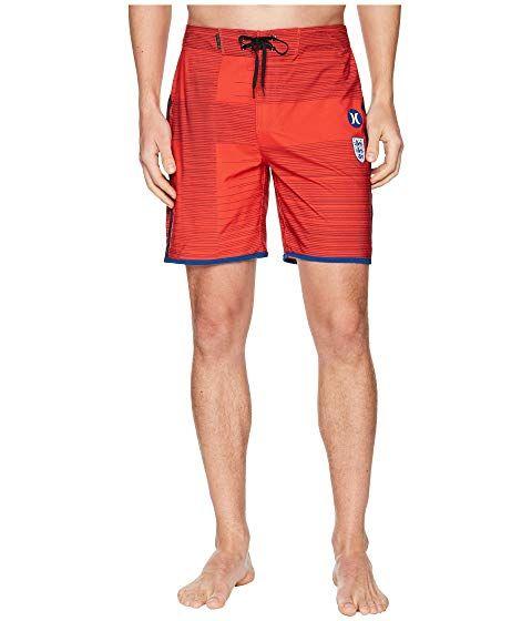 Hurley Mens Phantom Stretch Printed 18 Straight Hem Boardshort Swim Short
