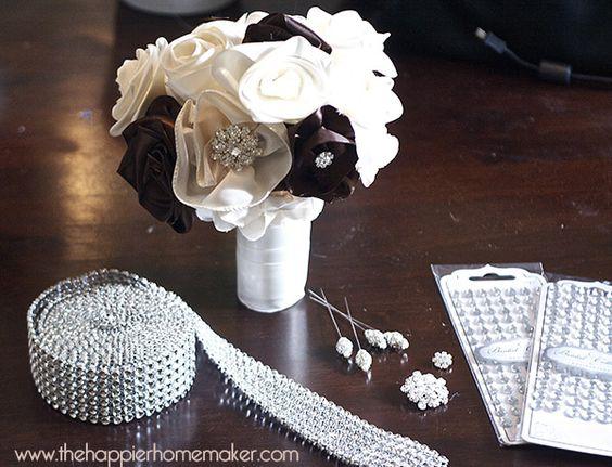 Vintage Inspired Ribbon Flower Wedding Bouquet - The Happier Homemaker | The Happier Homemaker