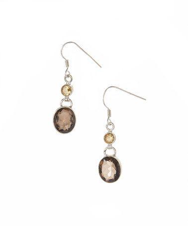 Smoky Quartz & Citrine Oval Drop Earrings by YS Gems #zulily #zulilyfinds