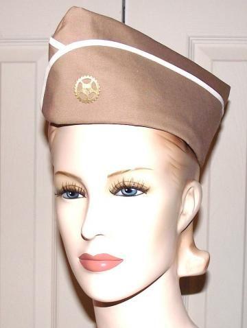 Steampunk Military Hat with Gear Steam Punk Hat Khaki Tan Vintage Style WWII Flight Cap Garrison Hat Women Men Unisex by Melaniegail for $25.95