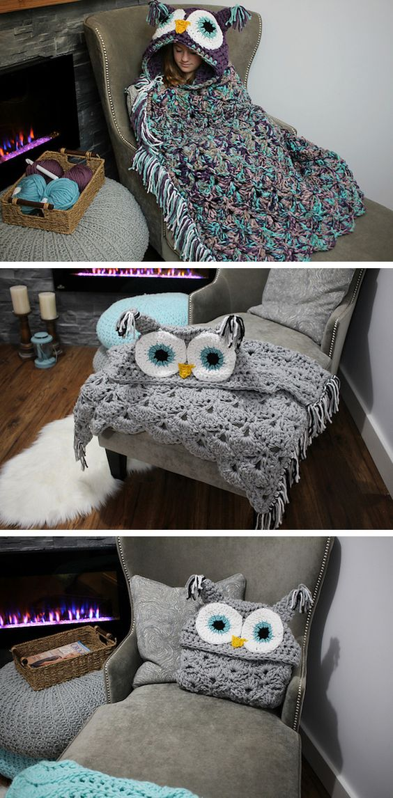 Turn into a bird with this charming DIY knitted owl blanket.:
