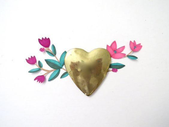 Brass Heart Paper Weight // Brass Office Accessory by BarnabyJack, $8.00