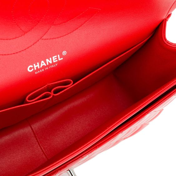 Chanel Bright Red Quilted Patent Jumbo Classic Double Flap Bag 6