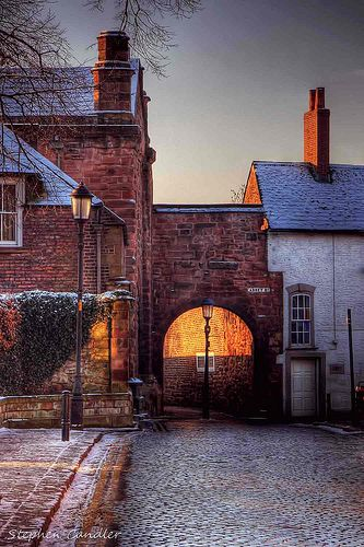 Looking toward Abbey St, near the cathedral in Carlisle.