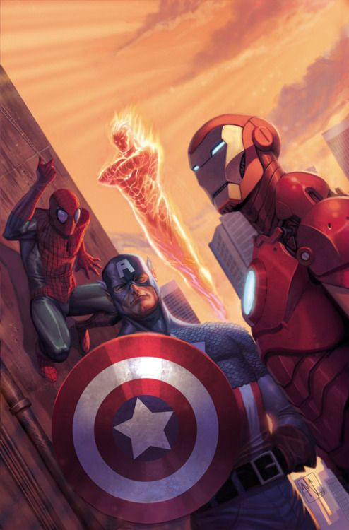 Spider-Man, Captain America, Human Torch and Iron Man