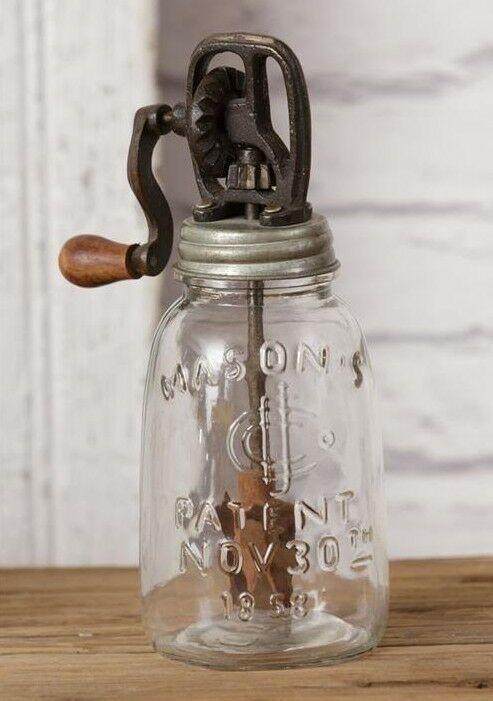 "FARMHOUSE MASON JAR w// Non-Working BUTTER CHURN Decorative Primitive Rustic 8.5/"""